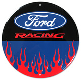 Ford Racing Flames Round Tin Sign