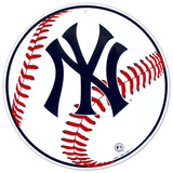 New York Yankees Baseball Logo Round Tin Sign