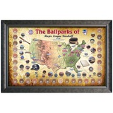 Major League Baseball Parks &quot;Map&quot; Collage w/ Game Used Dirt From 30 Parks Framed Memorabilia