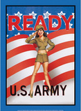 US Army Ready Soldier Sexy Girl Tin Sign