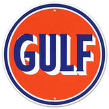 Gulf Oil Gasoline Logo Round Tin Sign