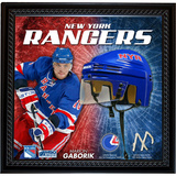 Marion Gaborik NYR Floating Mini Helmet Collage w/ Game Used MSG Net and Jersey Swatch Framed Memorabilia