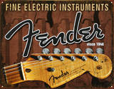 Fender - Fine Electric Instruments Cartel de chapa
