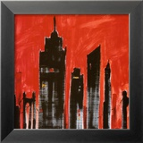 Red Cityscape Poster von Paul Brent