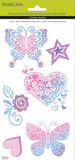 Heart Floral Butterfly Decorative Decals Aufkleber