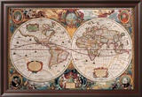 Antique Map, Geographica, Ca. 1630 Prints by Henricus Hondius