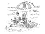 A husband, wife, and their toddler sit on the beach, all wearing sunglasse… - New Yorker Cartoon Premium Giclee Print by Danny Shanahan