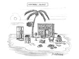A desert island full of outdated and obsolete items, including a bookstore… - New Yorker Cartoon Premium Giclee Print by Mort Gerberg