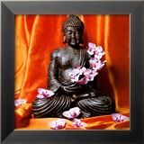 Buddha with Flowers Poster von Stephane De Bourgies