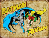 Batman and Robin Weathered Panels Plaque en m&#233;tal