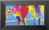 Papageien in Blau Kunstdrucke von Walasse Ting