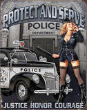 Protect And Serve Sexy Police Woman Plaque en m&#233;tal
