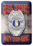 Real Heroes Don't Need Capes Police Light Switch Light Switch Plate