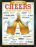 Cheers Around The World Beer Plaque en m&#233;tal