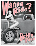 Bettie Page - Wanna Ride? Blikskilt