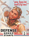 Defense War Bonds Stamps Air Force WWII Tin Sign