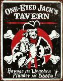One Eyed Jack's Tavern Distressed Emaille bord