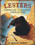 Lester's Ammunition Hunting Ammo Placa de lata