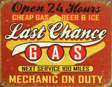 Last Chance Gas Emaille bord