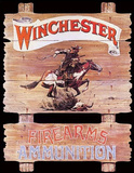 Winchester Firearms Ammunition Cowboy on Horse Rider Tin Sign