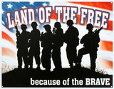 Land of the Free Because of the Brave Plaque en métal