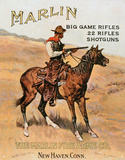 Marlin Firearms Co Rifles Cowboy on Horse Hunting Cartel de chapa