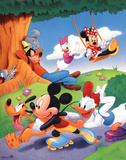 Mickey Mouse and Friends Rollerblading Print