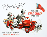 Texaco Gasoline Rarin To Go Fire Chief Tin Sign