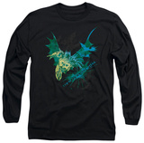 Long Sleeve: The Dark Knight Rises - Batarang (Green) T-Shirt