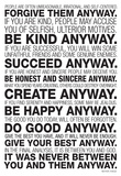 Mother Teresa Anyway Quote Poster Pósters