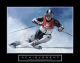 Acheivement Ski Race Skiing Motivational Art by T. C. Chiu