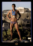 Michael Phelps Athens 2004 Standing with Medals Olympics Official Photographie