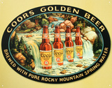 Coors Silver Beer Bottles in Waterfall Tin Sign