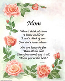 Mothers Day gift Mom poem roses card Posters