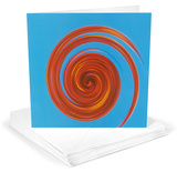 Michael Banks Whirl No 3 Red on Sky Blue Greeting Cards 12 Per Package Juegos de tarjetas de notas