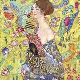 Lady with Fan Poster af Gustav Klimt