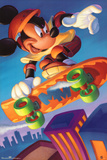 Mickey Mouse Skateboarding Print