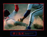 Risk Baseball Player Sliding Tag Motivational Lámina