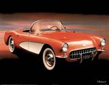 1956 Red Corvette Kunstdrucke von T Richard