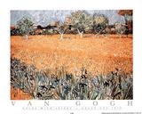 Arles with Irises Poster av Vincent van Gogh