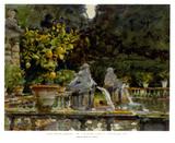 Villa di Marlia Lucca A Fountain, c.1910 Affiches par John Singer Sargent
