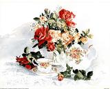 Roses & Tea (Still Life) Poster