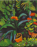 Blumen im Garten Poster von Auguste Macke