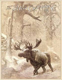The Peter's Cartridge Co Moose in Snowstorm Hunting Tin Sign