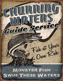 Churning Waters Fishing Guide Service Cartel de chapa