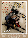 Salt Lake City 2002 Down Hill Skier Olympics Poster por Cristobal Gabarron