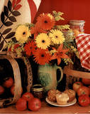 Flowers and muffins country kitchen Posters