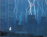 New York City Lightning Storm WTC Statue Liberty Posters