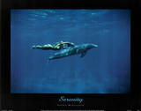 Dolphin Swim w/ nude Woman Serenity Posters