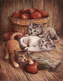 Two Puppies (Bushel of Apples) Poster